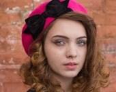 Pink Hat- Pink Beret Hat with Black Velvet Ribbon Bow