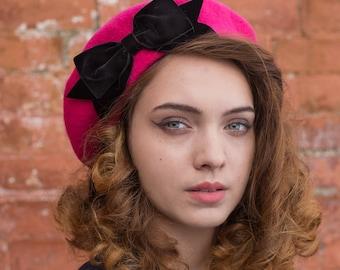 Pink Hat, Pink Beret Hat with Black Velvet Ribbon Bow, Pink French Beret Hat, Women's Pink Winter Hat, Pink Wool Beret Hat
