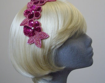 Pink Sequin Hair Clip, Pink Sequin Floral Headpiece, Pink Sequin Party Hair Accessory, Pink Sequin Hair Ornament, Pink Sequin Partywear Hair