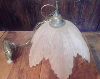 large Vintage frosted glass French Lamp Shade, palest pink flower 1920's  style, pendant light