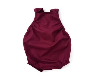 Maroon Burgundy Baby Romper Basic Toddler Sun suit ( Custom ) Fall Urban bubble Snap Bottom Crotch Closure