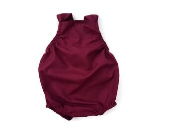 Maroon Burgundy Baby Romper Basic Toddler Sun suit ( Custom ) Fall Urban bubble Snap Bottom Crotch Closure