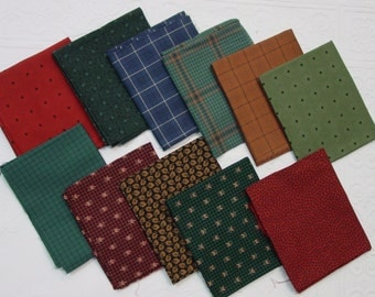 Vintage Cotton Fabric 11 FAT Quarters  for Quilting, Crafts, Deep Coordinated Colors