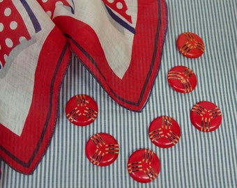 Neat Set of 7 Vintage Buttons, Cherry Red, Cutouts, 1 1/16""
