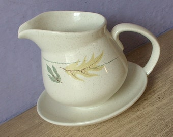 Vintage 1950's Franciscan Autumn Leaves gravy boat with attached underplate, Mid century modern dinnerware, Pottery, Ceramic gravy boat