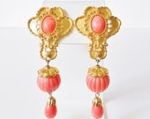 Barrera for Avon American Style Earrings, Clip on, Gold & Coral, Faux Coral, Retro, 1990's, Long, Resort jewelry, Book Piece, Bead Dangles