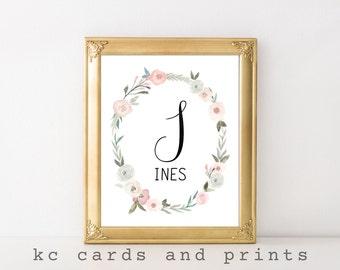 Ines Name Art Print - L Nursery Monogram - Custom Name Art - Baby Name Printable