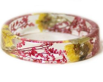 Real Flower Bracelet- Flower Jewelry- Yellow Bracelet- Pink Jewelry -Resin Jewelry Dried Flowers- Resin Bangle
