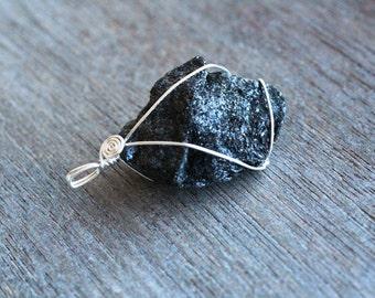 Black Tourmaline Wire Wrap Pendant  #6174