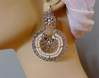 Mexican LARGE earrings filagree silver pearl arracada crescents romantic wedding earrings Frida Kahlo style drop