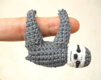 Miniature Crocheted Sloth  - Miniature Dollhouse Amigurumi Animals - Made To Order