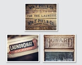 Rustic Laundry Room Wall Art, Laundry Room Decor Set of 3 Prints or Canvas Art, Brown Farmhouse Laundry Room Art, Rustic Laundry Decor.