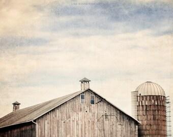 Rustic Barn Print or Canvas Art, Barn Landscape, Country Decor, Nostalgic, Grey, Brown, Peach, Blue, Silo, Cupola, Minimalist, Dreamy.