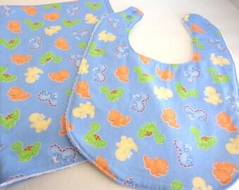 Dinosaur Print Baby Bib and Burp Cloth Set
