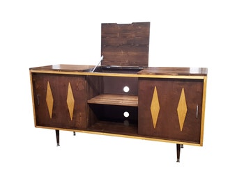Mid Century Inspired Record Console with lift lid