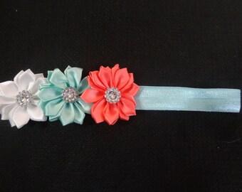 Coral and mint satin triple flower headband