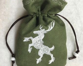 PRANCING STAG - Embroidered Drawstring Dice Bag, Rune Pouch, Tarot Card Bag made from Faux Suede - LARP Accessory