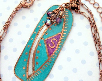 Letter S Etched Copper Pendant Necklace, Turquoise/Fuschia Etched Copper Pendant, Original Artwork Designed Copper Pendant, FREE SHIPPING