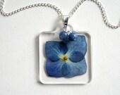 Deep Blue Hydrangea - Real Flower Garden Necklace - botanic jewelry, pressed flower, hydrangea necklace, aventurine, garden, natural, ooak