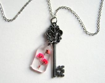 Secret Garden Gate Key Necklace with Real Gypsophila - botanic jewelry, pressed flower, pink, natural, FH Burnett, skeleton key, gate lock