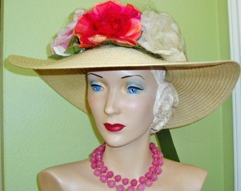 Sale Pink ROSES Fashion HAT Custom OOAK Pink Red Vintage Millinery Flowers Netting Gold Lurex Dress Garden Party Church New