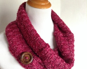 Pink Infinity Scarf, Upcycled Sweater Scarf, Knit Scarf, Womens Neckwarmer, Wool Scarf, Chunky Neckwarmer, Chunky Scarf