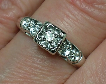 Vintage Engagement Ring: White Gold Tudor Rose Mid Century Illusion Head