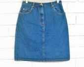 80's DENIM PENCIL SKIRT vintage jean skirt western skirt preppy skirt dark denim knee length M
