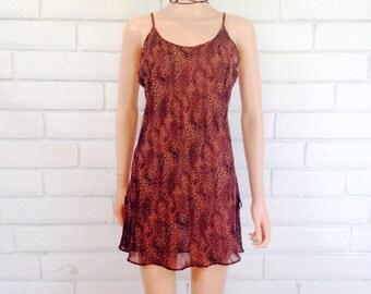 90's SHEER SLIP DRESS vintage leopard cheetah animal print mini dress spaghetti strap S