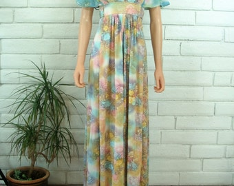 70's PASTEL MAXI DRESS ombre floral vintage flutter sleeve garden party S