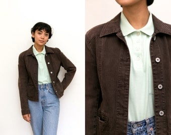 Brown Denim Jacket / 90s Grunge Jacket / Skinny Fitted Brown Buttoned Jacket / Pocket Unisex Womens Stretch size 1 Small