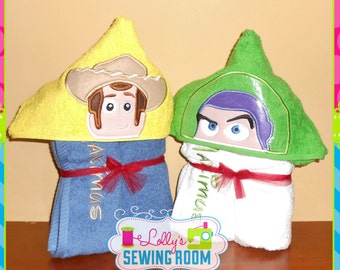 Toy Story's Woody or Buzz hooded towel - can be personalized