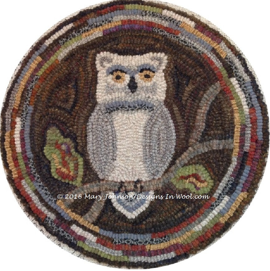 Rug Hooking PATTERN Woodland Owl Chair Pad Or Table Mat
