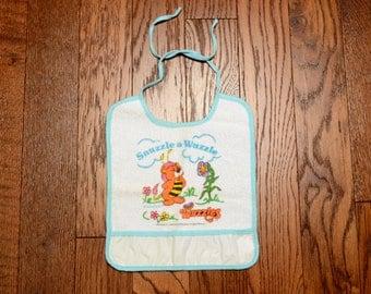 vintage 80s Wuzzles bib baby bib Snuzzle a Wuzzle terry cloth bib vintage 1980 cartoon bib baby accessory