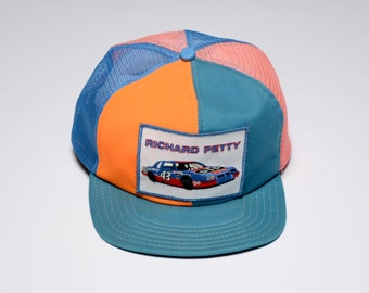 vintage 80s Richrad Petty trucker hat 1980 NASCAR STP 43 King of the Road mesh hat with patch snapback baseball cap