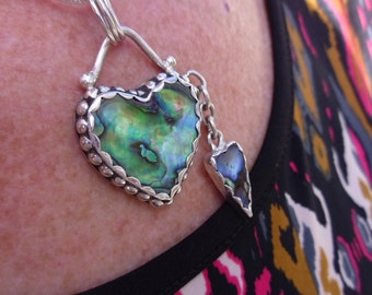 R170--Abalone Two Heart Pendant
