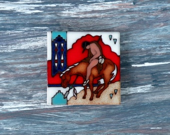 Ceramic Tile Trivet/ Beverage Coaster/ Native American Indian Horse/ End of the Trail/ Indian Picture