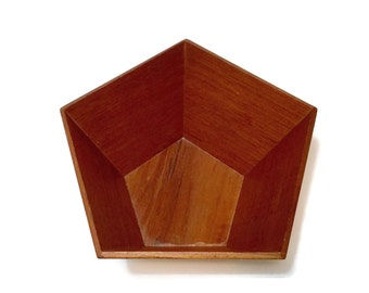 Vintage Modernist Teak Bowl, hexagon form, Sowe-Konst Sovestad Sweden, mid century scandinavian design