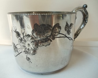 Very Old Antique Quadruple Silverplate Cup. Engraved, Early 1900's