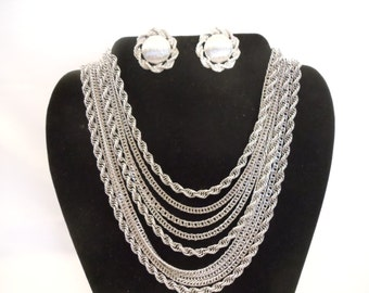 Monet Silvertone Vintage 8 Strand Chain Necklace with Clip Earrings