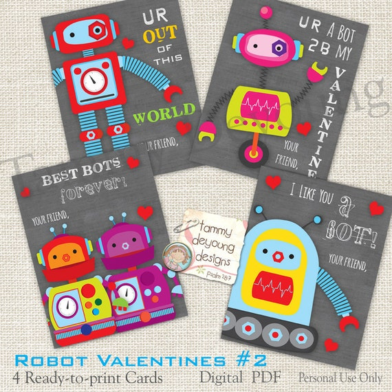 robot 2 valentines cards for kids boys valentines diy