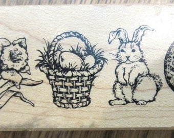 1999 Psx F-1917 Easter Basket Eggs Bunny Daffodil Flower  Wooden Rubber Stamp