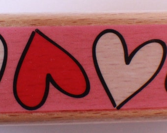 Studio G Row Of Hearts Valentine Love Romantic I Love You!  Wooden Rubber Stamp