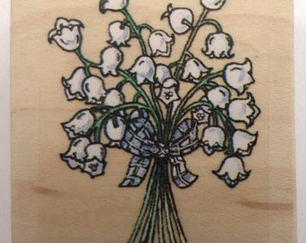 Stampington And Co Liy Of Te Valley By Paige Nerrie Wood Rubber Stamp #P2117