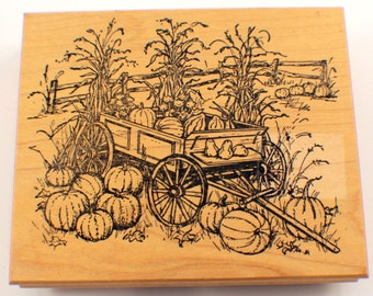 Northwoods Harvest Wagon Corn And Pumpkins Wooden Rubber Stamp