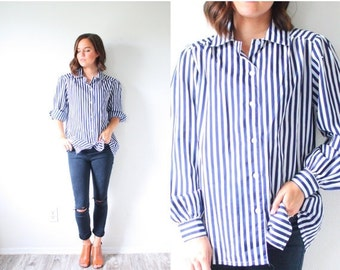 30% OFF out of town SALE Vintage striped on sleeve shirt // slouchy loose fit boyfriend long sleeve top // boho shirt // boho summer shirt /