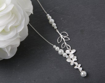 Bridal pearl necklace, orchid necklace, Bridal jewelry, silver orchid wedding jewelry, Maid of honor gift, Bridesmaid gift, orchid jewelry