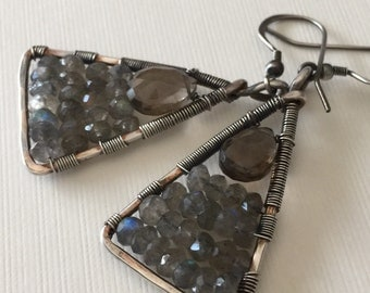 Smokey quartz with labradorite wire wrapped in silver - dangle earrings