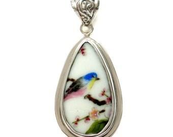 Broken China Jewelry Vintage Blue Bird on Flowering Branch Drop Sterling Pendant