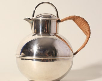 Vintage Art Deco English Silver Plate Tea Pot with Rattan Handle